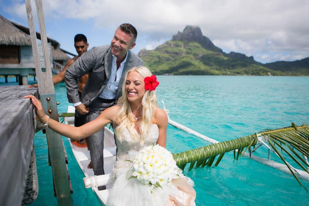 Polynesian wedding ceremony canoe departure