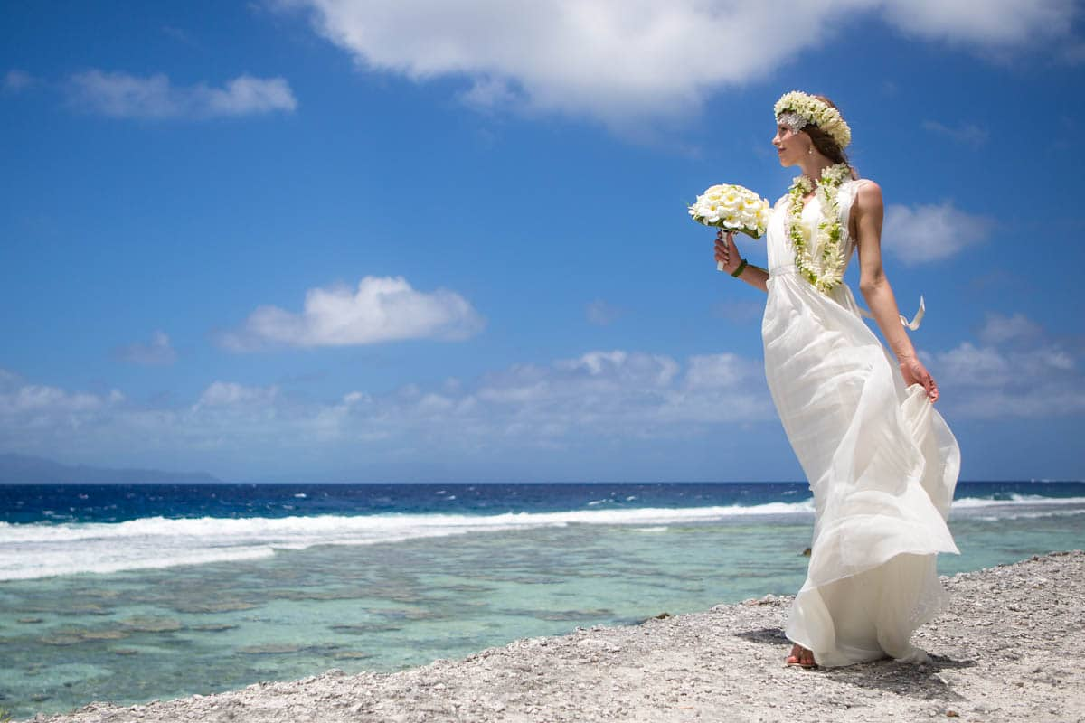Bride wearing a western gown