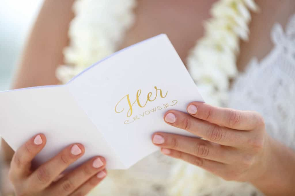 Closeup on her vows