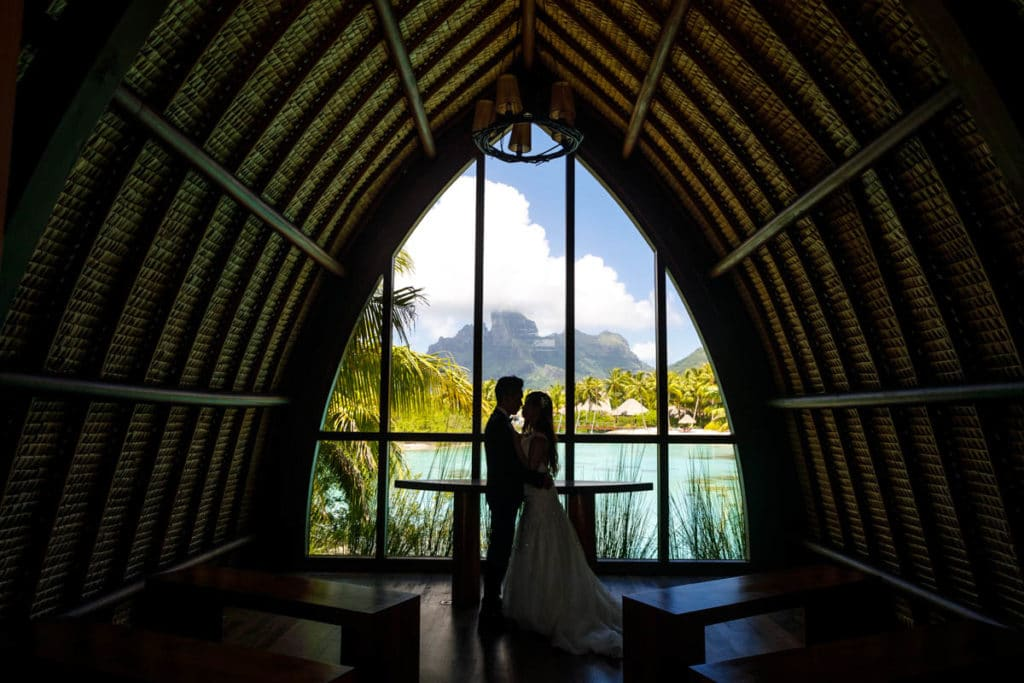 Inside the chapel at the Four Seasons Resort Bora Bora