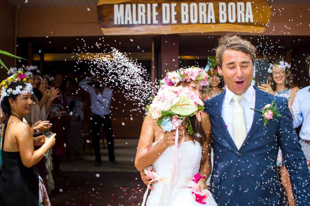 Bora Bora bride walking out of the city hall of Bora Bora
