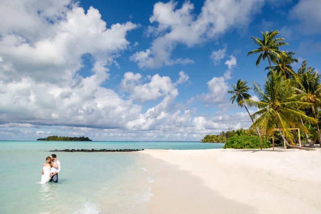 bride trashing the dress in Bora Bora