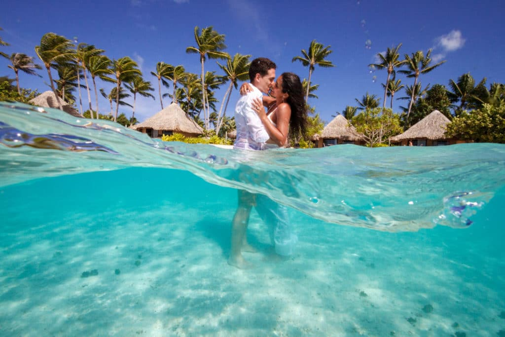 over under water kiss in bora bora