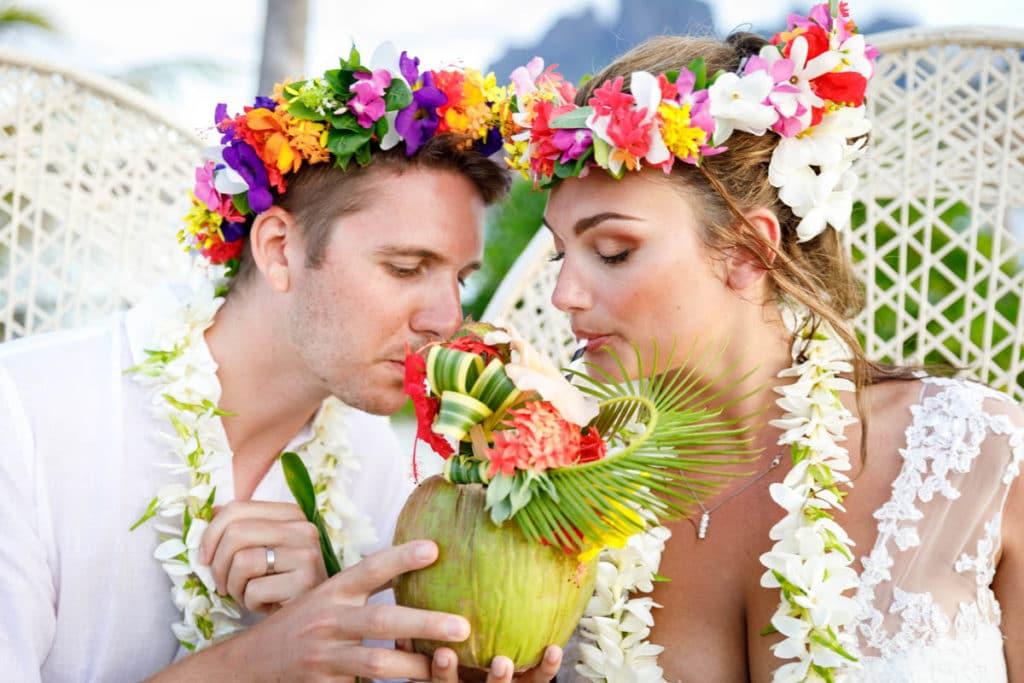 couple drinking pina colada