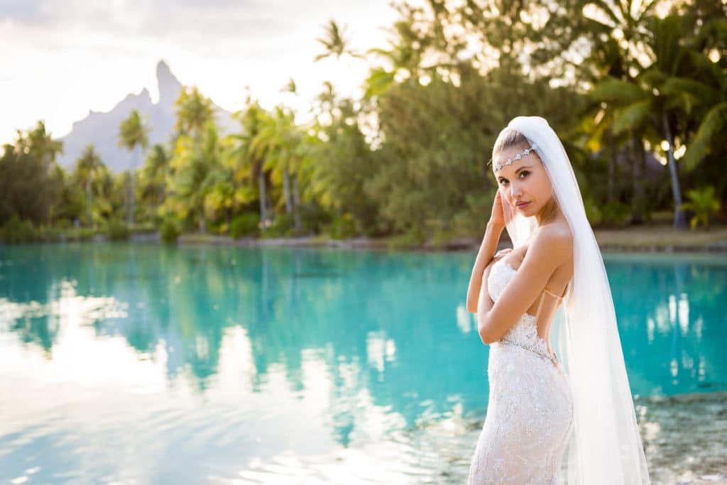 beautiful bora bora bride at St Regis resort Bora Bora Spa