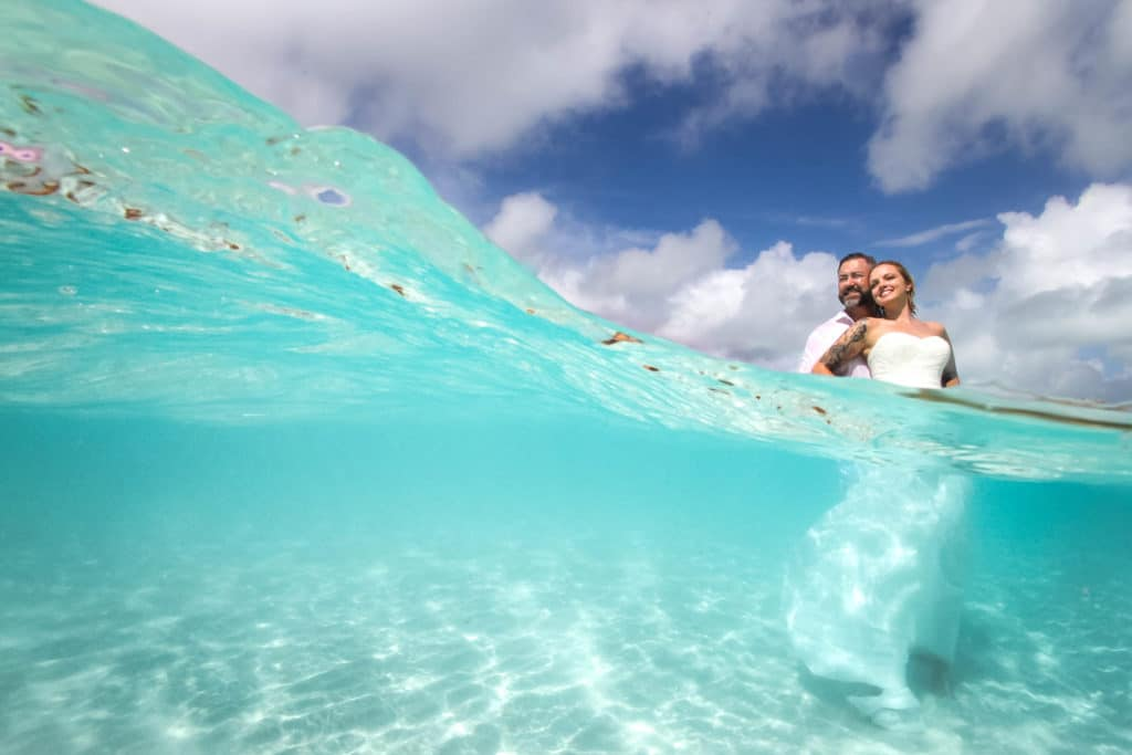 over-under water photography in bora Bora