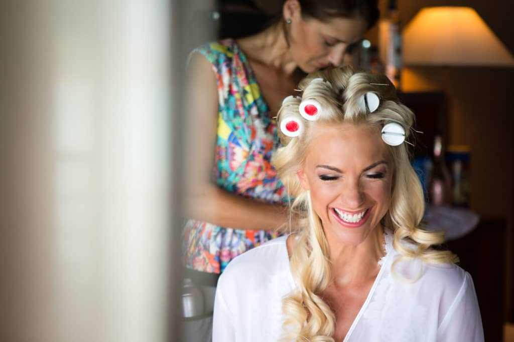 smiling bora bora bride during hair and makeup